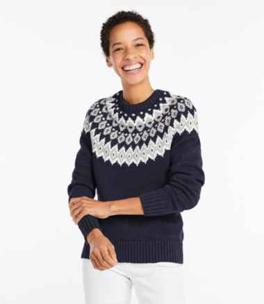 Women's Cotton Ragg Sweater, Marled Fair Isle
