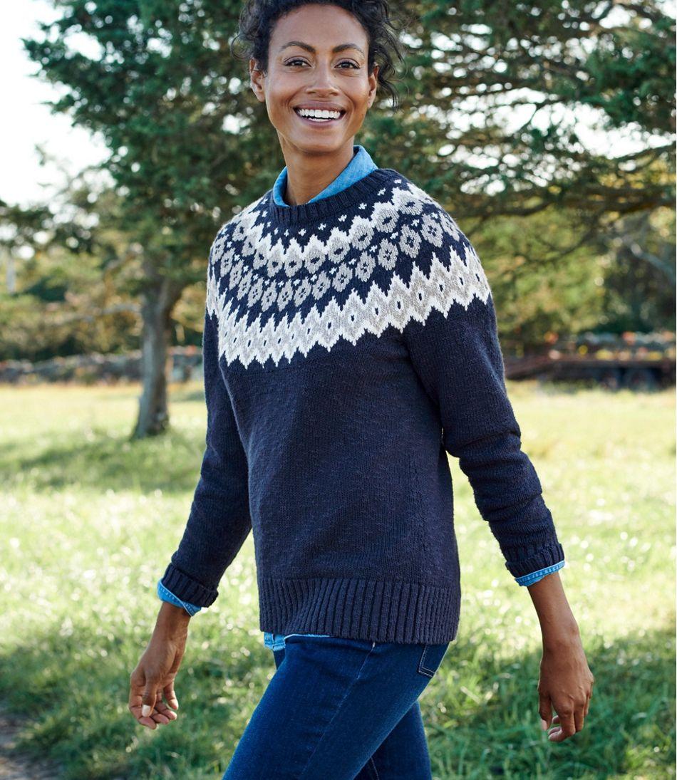 Cotton Ragg Sweater, Marled Fair Isle