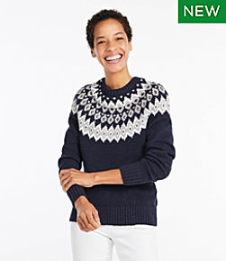 Cotton Ragg Sweater, Marled Fair Isle