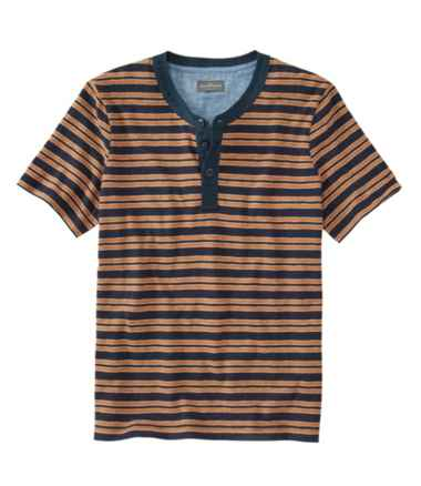 Men's Signature Slub Henley, Short-Sleeve Stripe