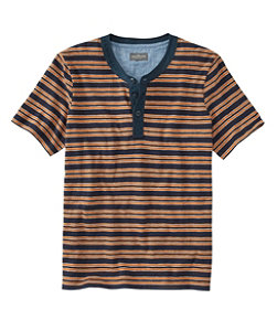 Men's Signature Slub Henley, Short-Sleeve, Stripe
