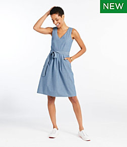 Signature V-Neck Chambray Dress