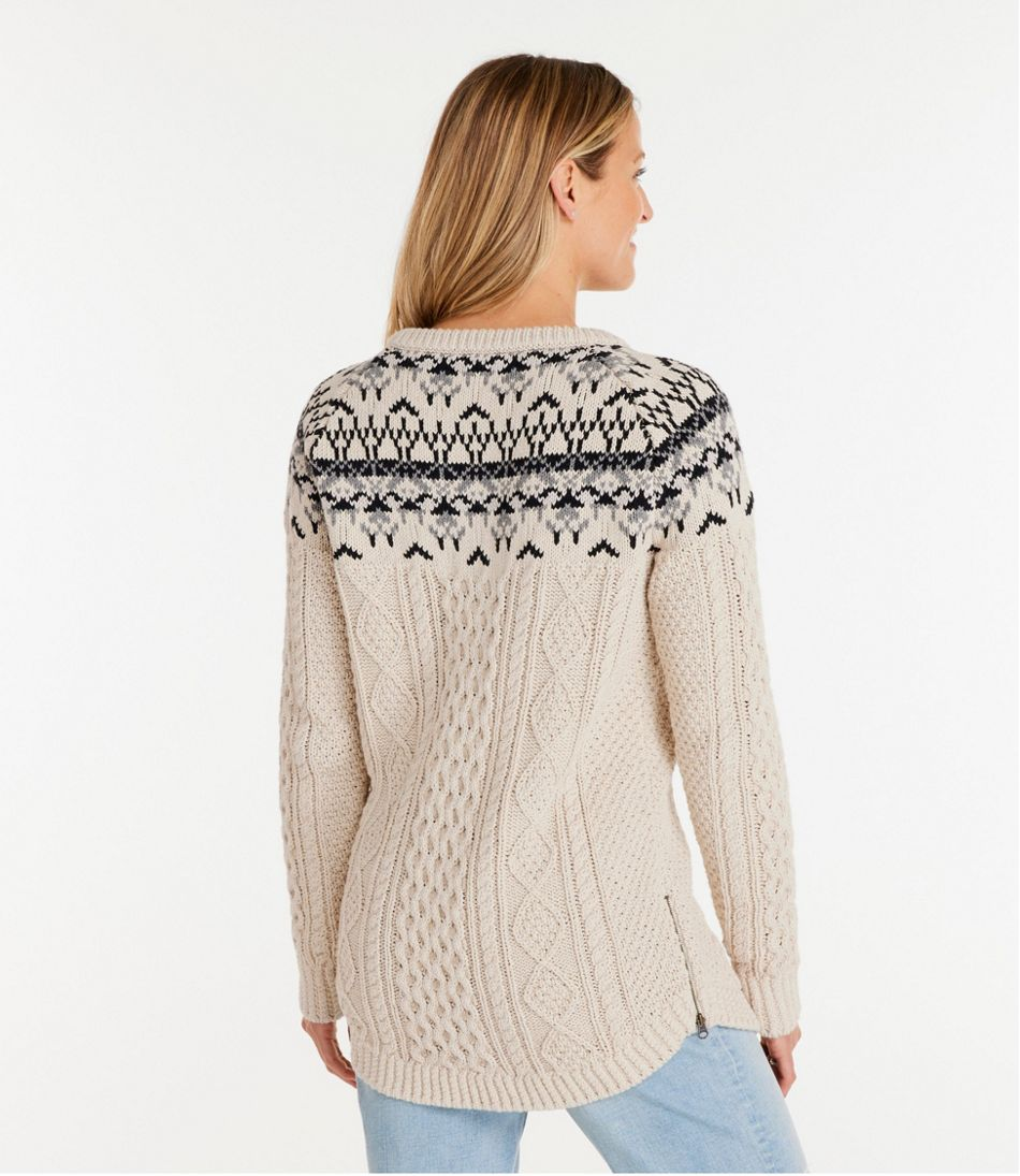 Signature Cotton Fisherman Tunic Sweater, Fair Isle