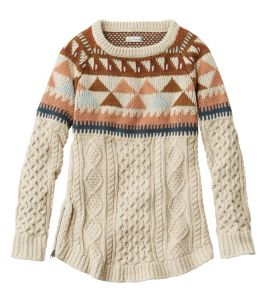 Women's Signature Cotton Fisherman Tunic Sweater, Fair Isle