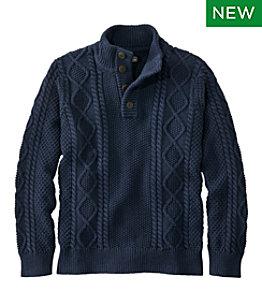 Men's Signature Cotton Fisherman Sweater, Henley