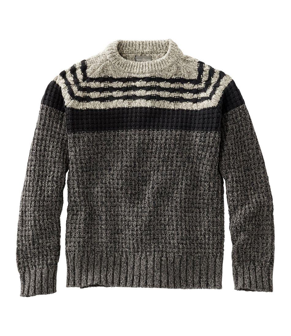 Men's Signature Cotton Fisherman Sweater, Mixed-Stitch Crewneck, Regular