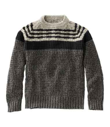 Signature Cotton Fisherman Sweater, Mixed-Stitch Crewneck