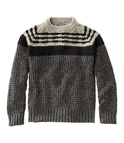 Men's Signature Cotton Fisherman Sweater, Mixed-Stitch Crewneck, Regular