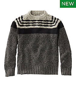 Men's Signature Cotton Fisherman Sweater, Mixed-Stitch Crewneck Regular