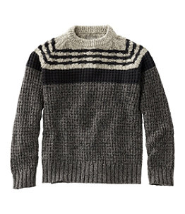 Men's Signature Cotton Fisherman Sweater, Mixed-Stitch Crewneck Regular