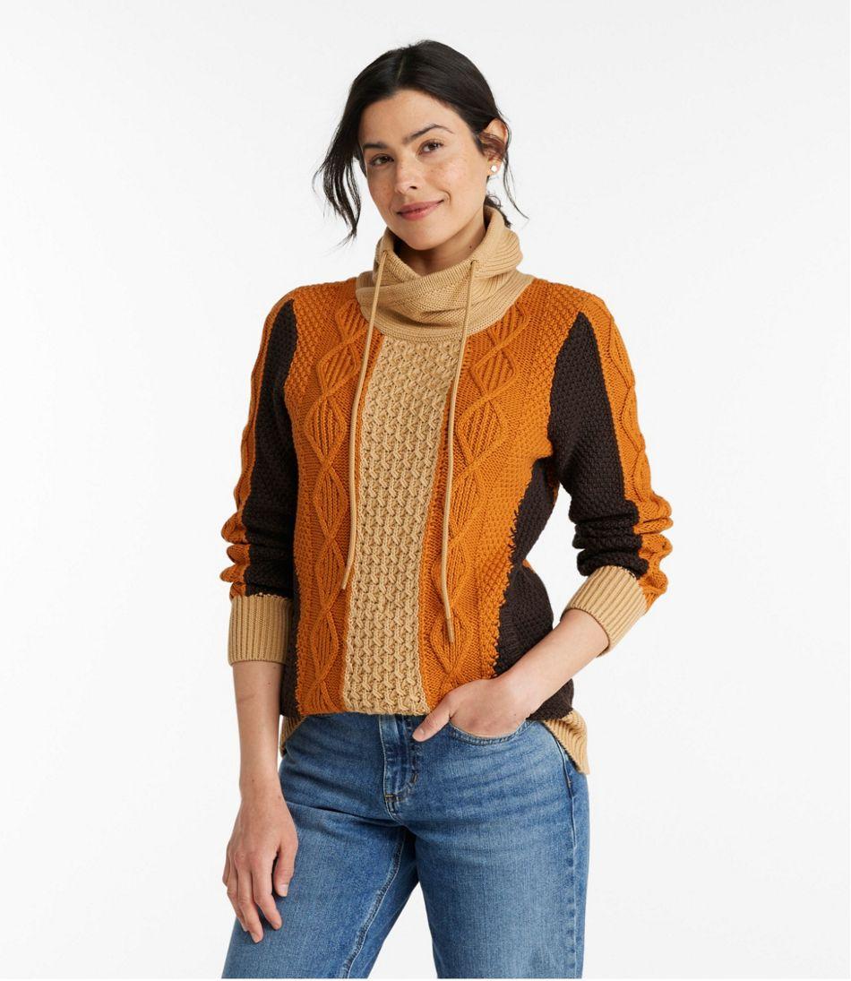 Women's Signature Cotton Funnelneck Sweater, Colorblock