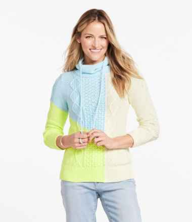 Women's Signature Cotton Funnelneck Sweater, Colorblock