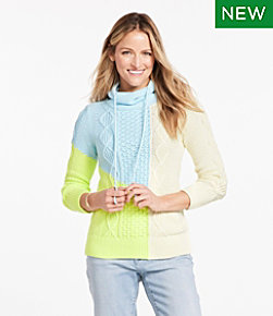 Signature Cotton Funnelneck Sweater, Colorblock