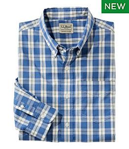Men's Comfort Stretch Poplin Shirt, Long-Sleeve, Plaid, Slightly Fitted