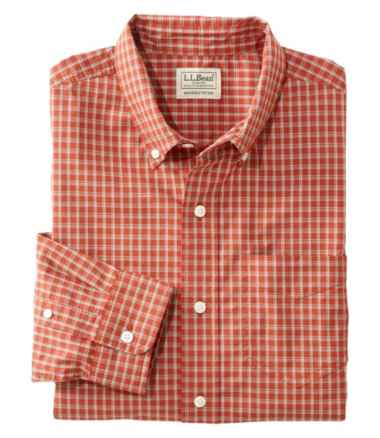 Men's Comfort Stretch Poplin Shirt, Long-Sleeve, Plaid, Slightly Fitted