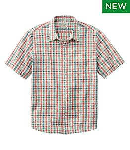 Men's Organic Cotton Seersucker Shirt, Short-Sleeve, Slightly Fitted, Plaid