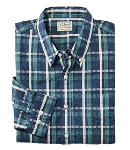 Men's Organic Cotton Seersucker Shirt, Long-Sleeve, Traditional Fit, Plaid