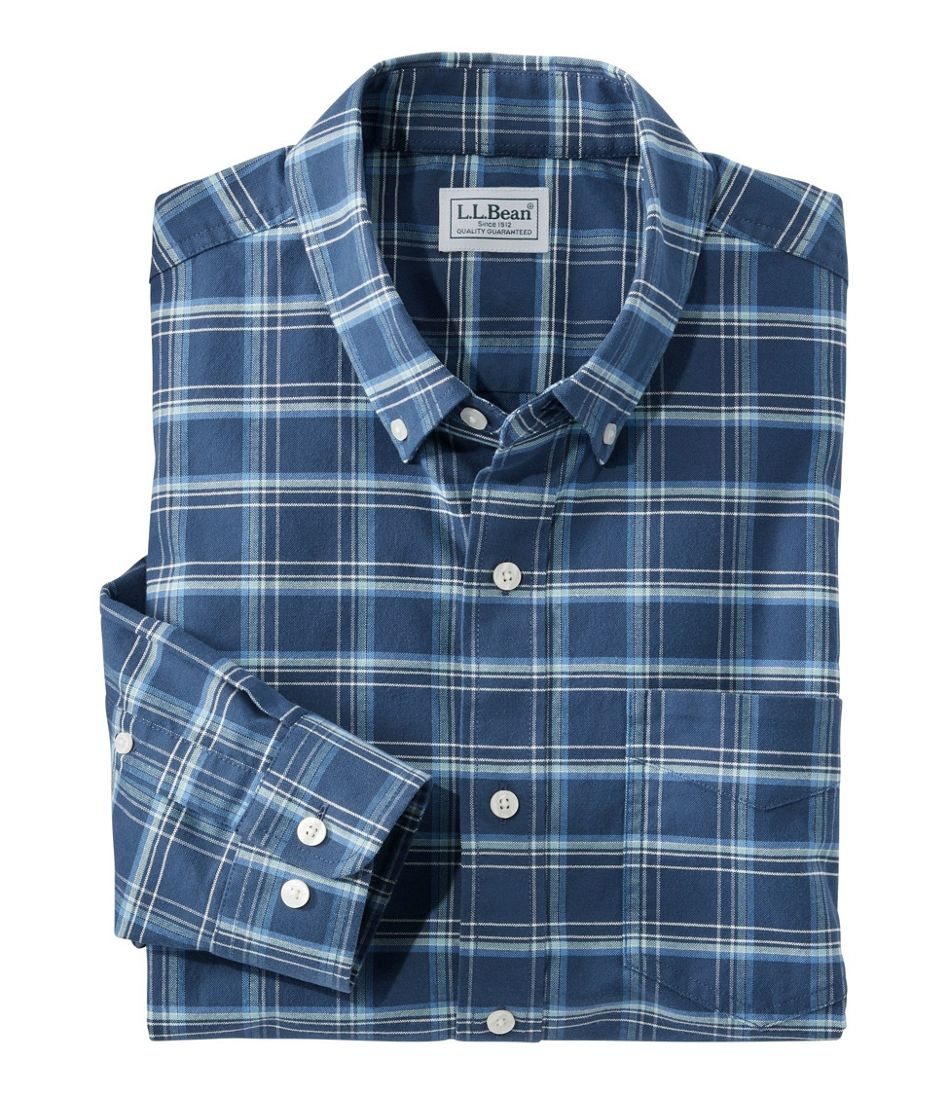 Men's Comfort Stretch Oxford Shirt, Traditional Untucked Fit, Plaid