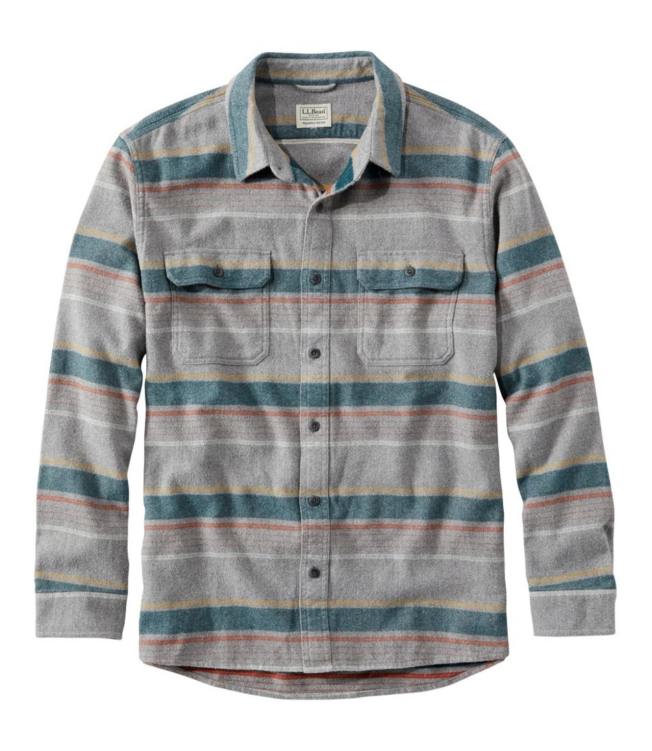 Men S Organic Flannel Shirt Slightly Fitted Stripe