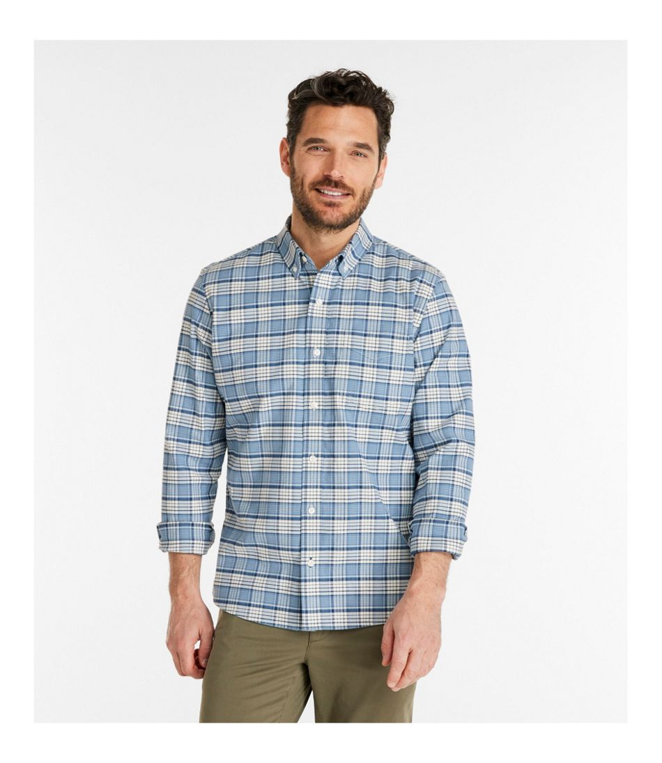 Comfort Stretch Oxford Shirt, Slightly Fitted, Plaid
