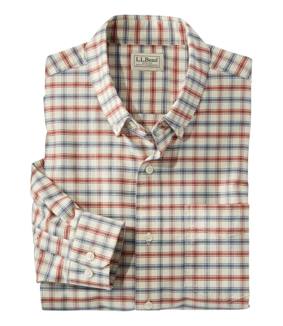 Men's Comfort Stretch Oxford Shirt, Slightly Fitted Untucked Fit, Plaid
