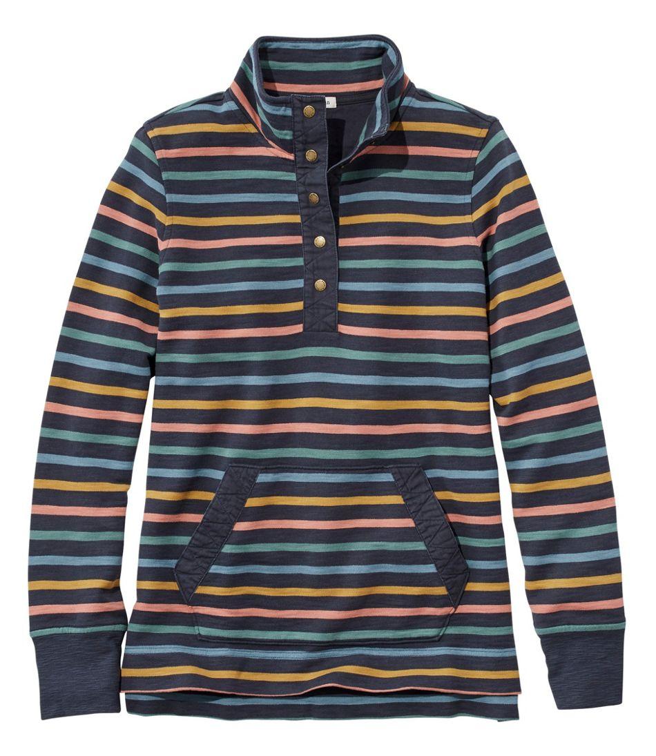 Rocky Coast Sweatshirt, Snap Henley Stripe