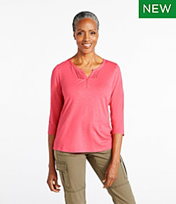 Women's Organic Cotton Splitneck Tee, Three-Quarter Sleeve