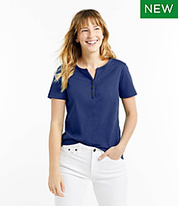 Women's L.L.Bean Tee, Short-Sleeve Splitneck Henley