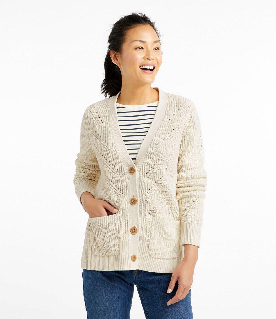Linen-Blend Sweater, Button-Front Cardigan