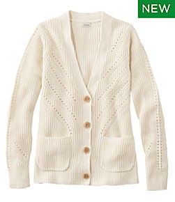 Women's Linen-Blend Sweater, Button-Front Cardigan