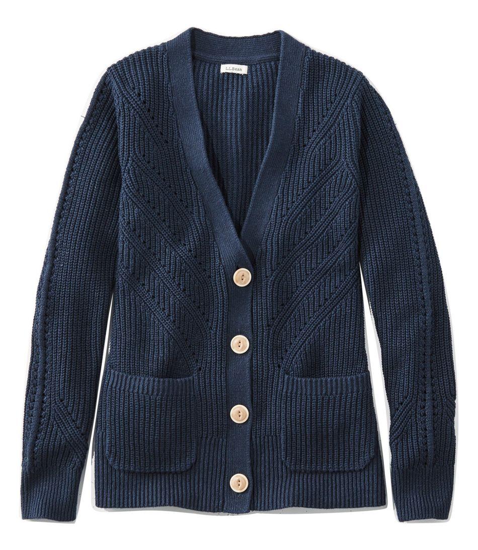 Women's Linen-Blend Sweater, Button-Front Cardigan