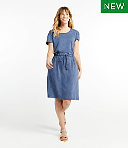 Women's Cotton/Tencel Slub Dress, Short-Sleeve Tie-Front