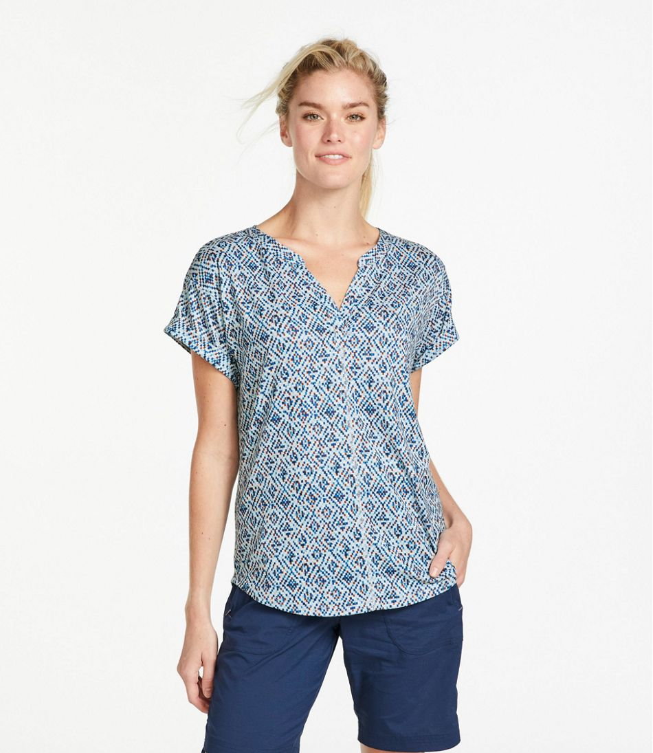 Women's Streamside Tee, Short-Sleeve Splitneck Print