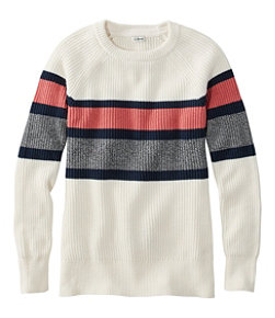 Women's Coastal Cotton Sweater, Pullover Stripe