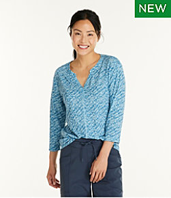 Women's Streamside Tee, Three-Quarter-Sleeve Splitneck, Print
