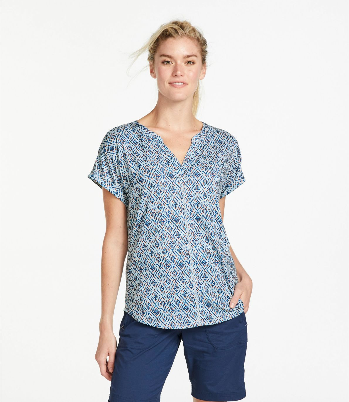 Women's Streamside Tee, Short-Sleeve Splitneck Print