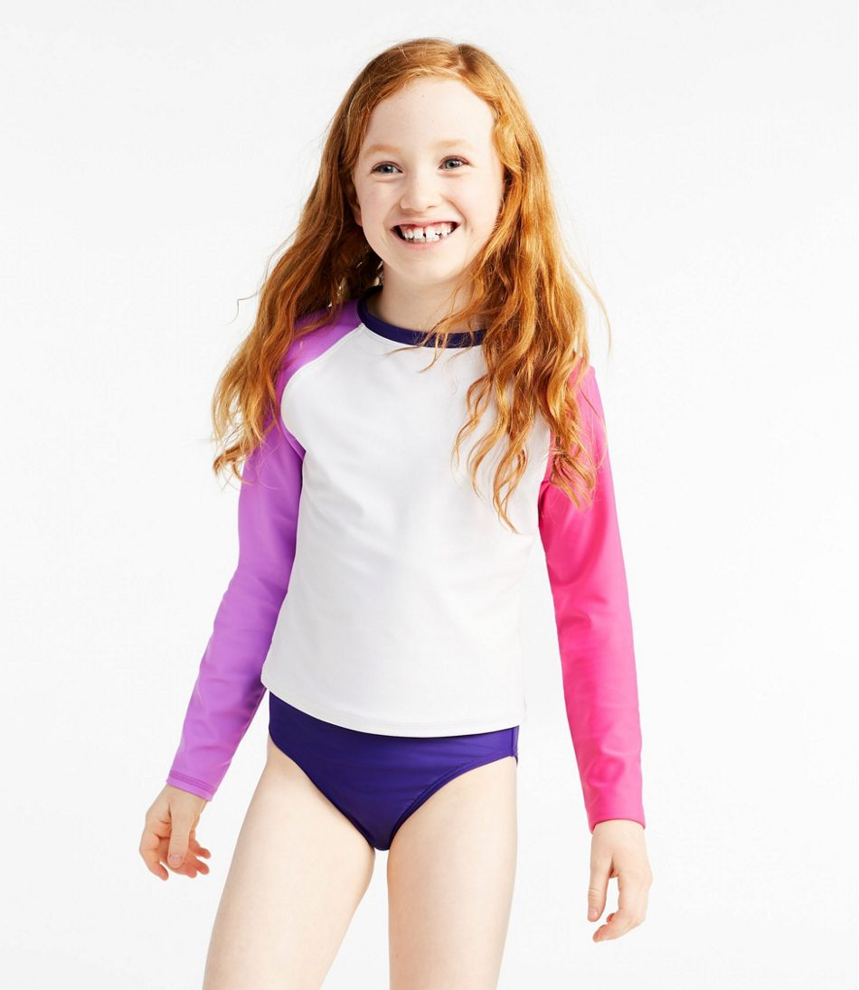 Girls' Rash Guard Swimsuit, Two-Piece, Colorblock
