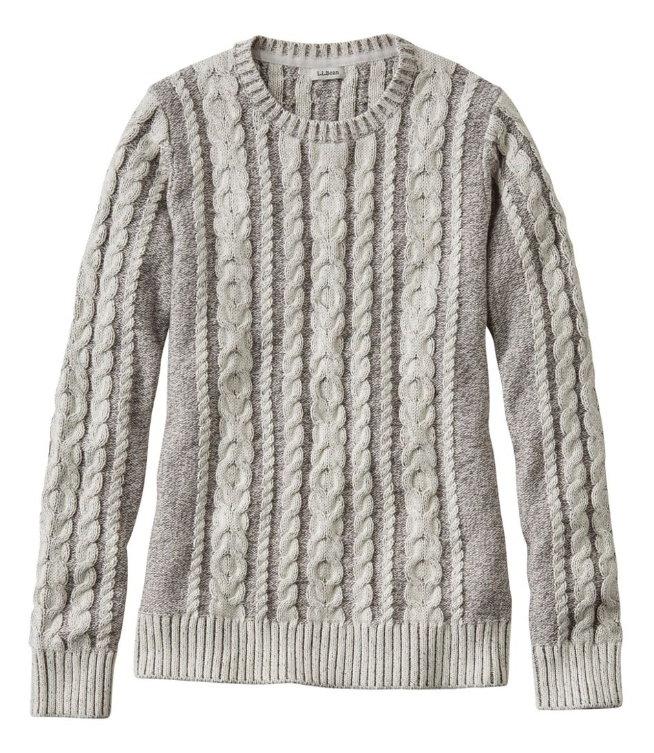 Double L Sweater Mixed-Cable Pullover, Crewneck Plaited
