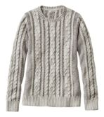 Women's Double L Sweater Mixed-Cable Pullover, Crewneck Plaited
