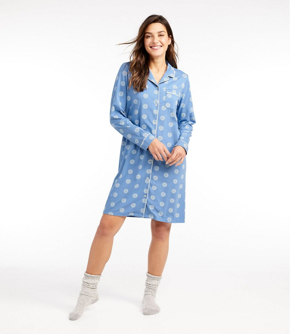 Women's Organic Supersoft Shrink-Free Nightgown, Button-Front Print