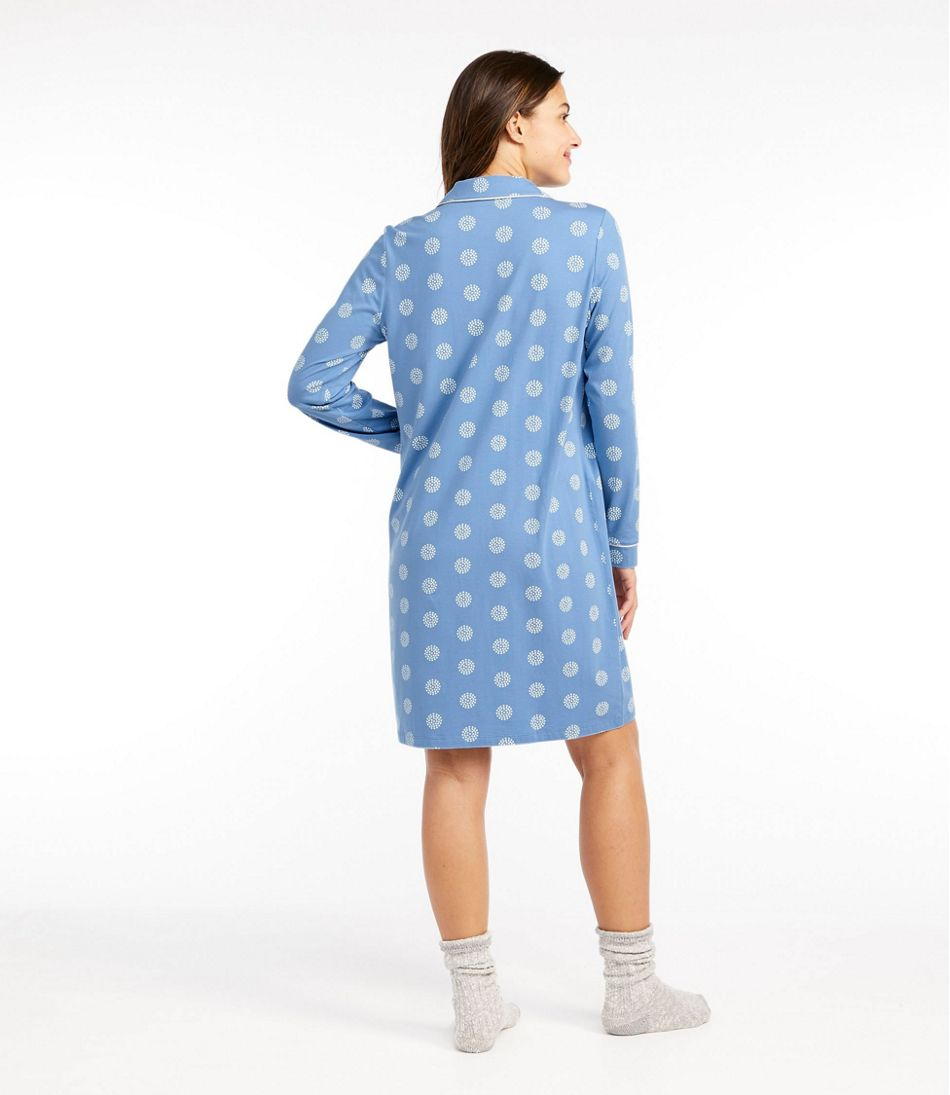 Organic Supersoft Shrink-Free Nightgown, Button-Front Print