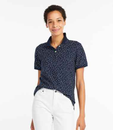 Women's Premium Double L Polo, Short-Sleeve Relaxed Fit Print