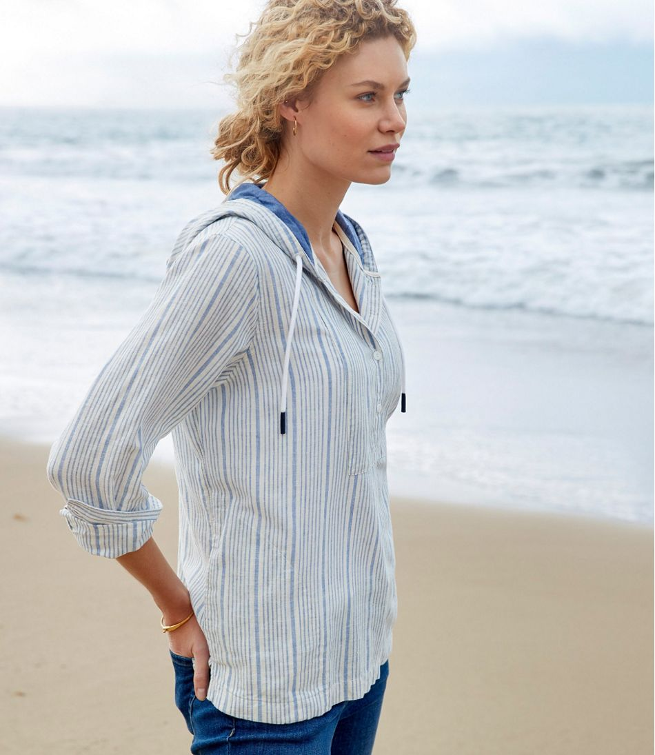 Women's Textured Linen/Cotton Anorak, Stripe