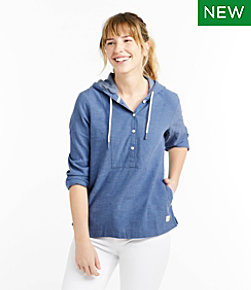 Women's Textured Linen/Cotton Anorak, Stripe