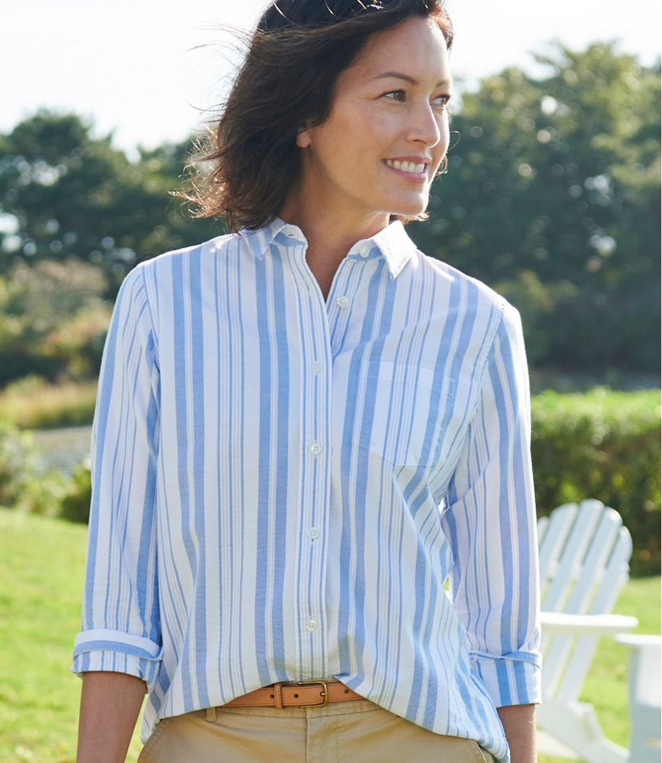 Women's Lakewashed Organic Cotton Oxford Shirt, Relaxed Stripe