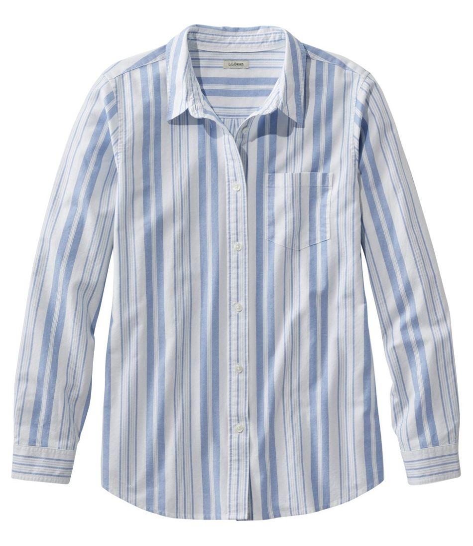 Women's Lakewashed Organic Cotton Oxford Shirt, Relaxed Stripe