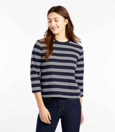 Women's Saturday T-Shirt, Crewneck Three-Quarter-Sleeve Stripe