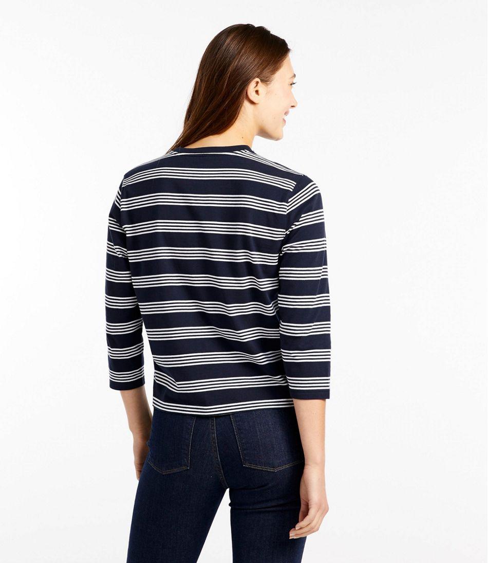 Saturday T-Shirt, Crewneck Three-Quarter-Sleeve Stripe