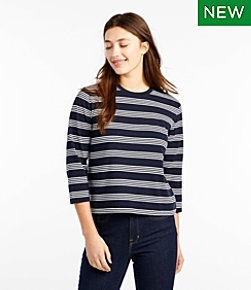 Saturday T-Shirt, Crewneck Three-Quarter-Sleeve Stripe