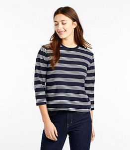 Women's Saturday T-Shirt, Crewneck Three-Quarter-Sleeve Stripe